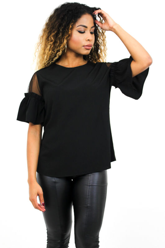 Black Mesh Insert T-Shirt