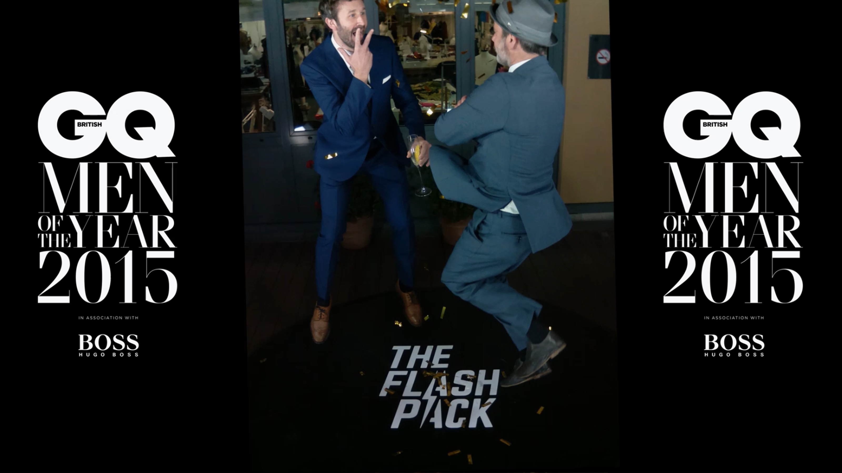 Chris O'Dowd hits The Flash Pack multi camera bullet rig at the 2015 GQ MOTY Awards