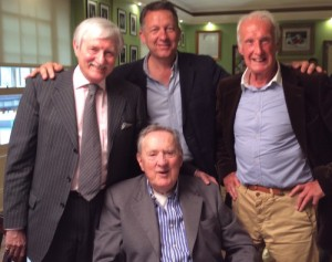 Brian James (centre) with Norman Giller, Matt Lorenzo and Nigel Clarke