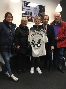 Danny Fullbrook's family receive a signed Fulham shirt in his memory