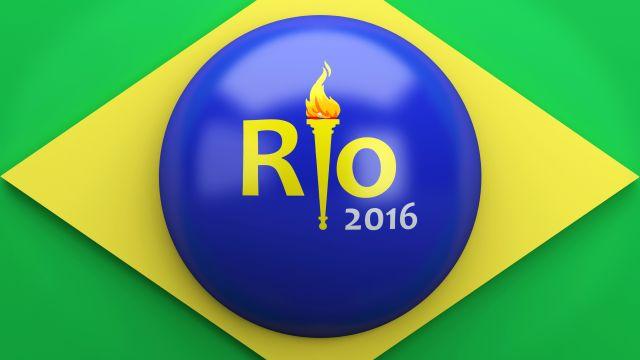 3d illustration. Brazil flag. Rio de Janeiro, summer olympic games.