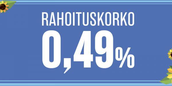 Huippuedullinen korko koko vaihtoautovalikoimaan, korko vain 0,49 %!