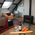 the woodburner in the barn apartment