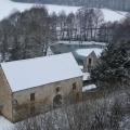 The mill from the village, a white magic morning.