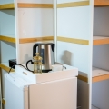 for each room: a small fridge and a kettle with a choice of theas