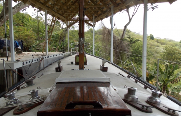 "The deck of our boat ""Sand Dollar"" with the added-on bathroom and entranceway to port (left)"