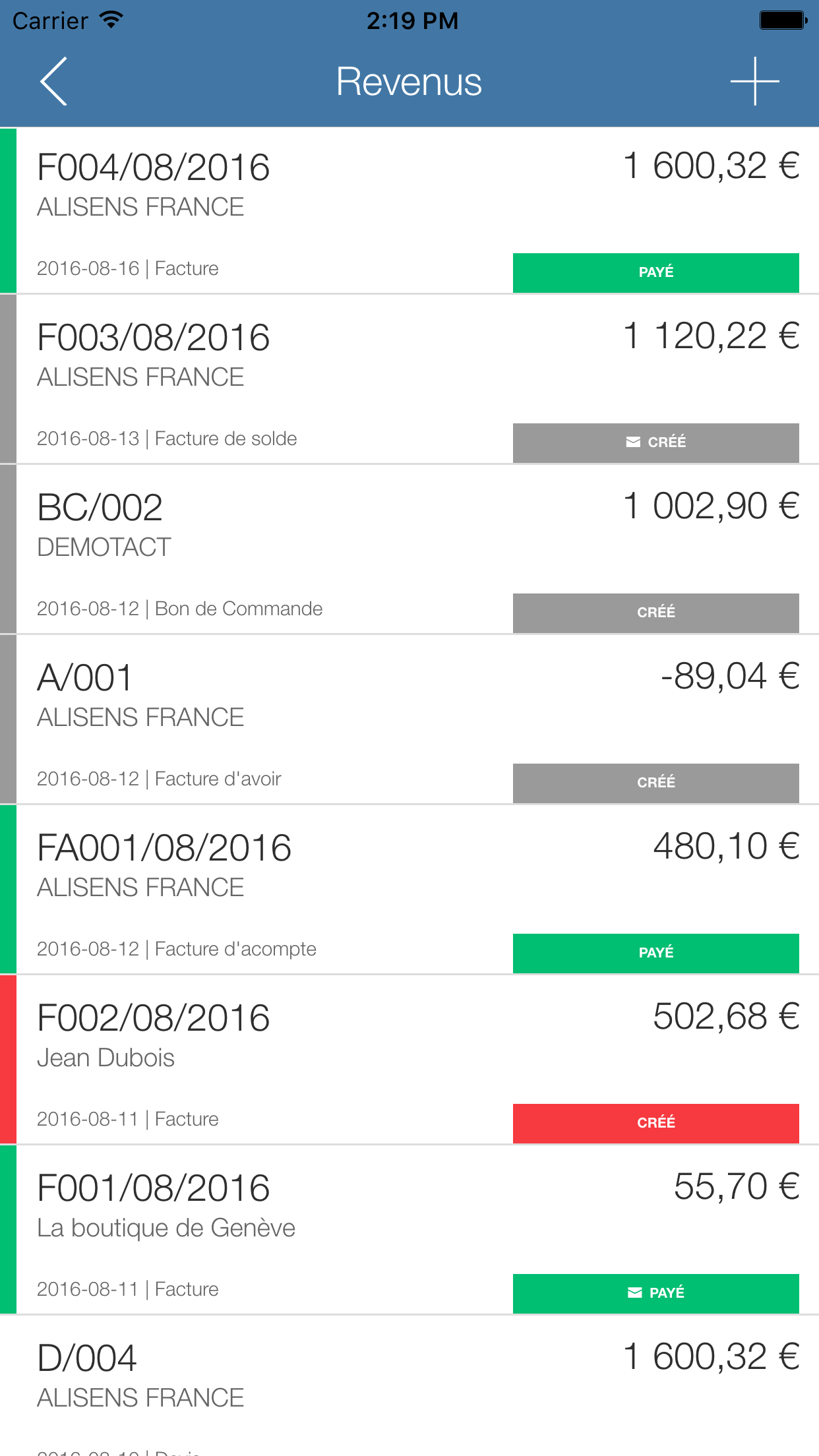 Application Mobile - Liste des revenus