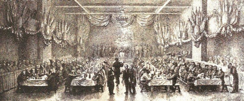 Illustration du premier repas de Noël servi à l'Accueil de nuit