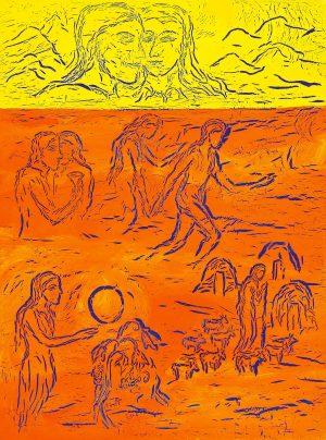 """""""In principio - A Bíblia Medieval em diálogo com a pintura de Ilda David""""   Documenta/Sistema Solar"""