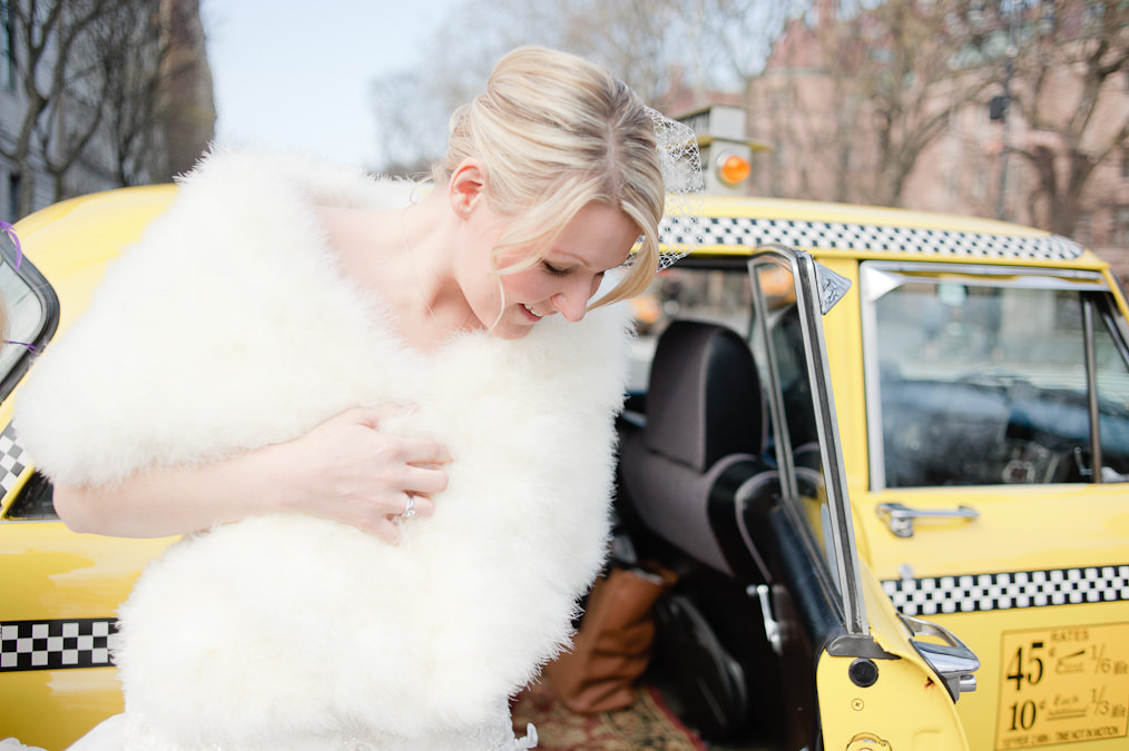 Central Park, New York Alternative Wedding Photography, Yellow Checker Cab