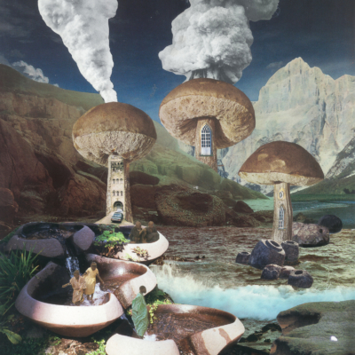 seana gavin. untitled (mushroom smoke chimney). paper collage on card. 2017.