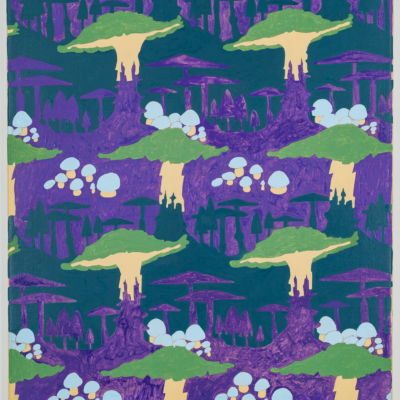 alex morrison. mushroom motif (purple and blue). oil on canvas. 2017.