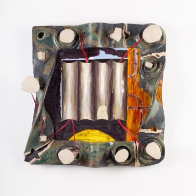 punchpiler, 2018. oil on board, tracing paper, gloss, sand, oil on linen, glazed ceramic. 47.5 x 45 x 13cm.