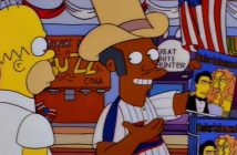 Apu tries to convince Homer that he is American