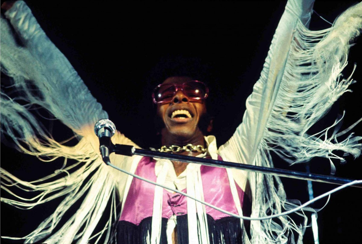 Sly Stone at Woodstock - pic from artist's Facebook page