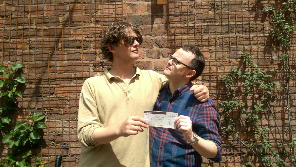 Bill Ryder-Jones and Peter Guy tussle for the GIT Award cheque