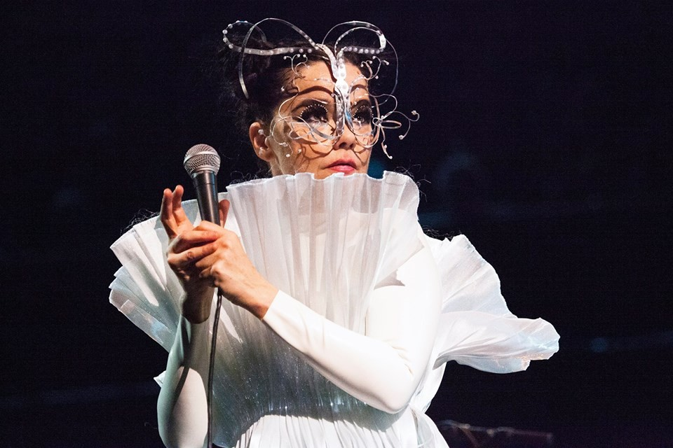 Bjork performing Vulnicura at the Royal Albert Hall (image courtesy of the artist's Facebook page)