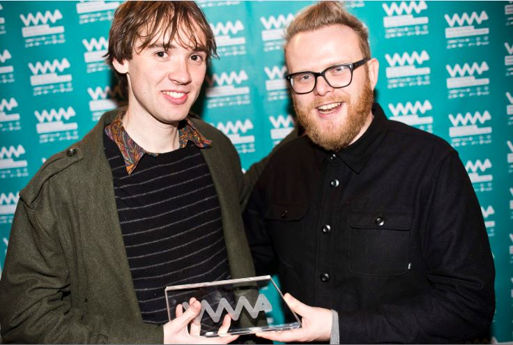 Welsh Music Prize 2016 winner Meilyr Jones at least year's ceremony, with Huw Stephens (Photo credit: Welsh Music Prize)