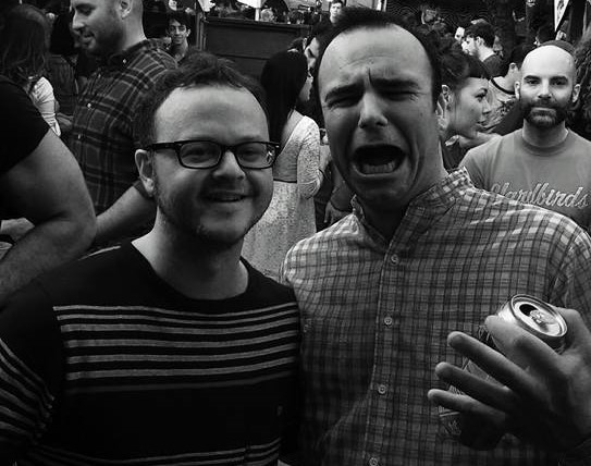 Future Islands' Samuel Herring and Getintothis editor Peter Guy at Hotel Vegas in Austin, Texas