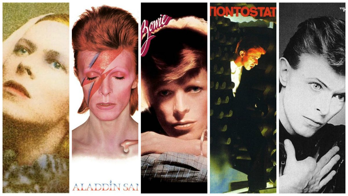 "L-R: Hunky Dory, Aladdin Sane, Young Americans, Station To Station, ""Heroes"""