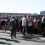 Crowds enjoying the sun outside Black Lodge Brewery