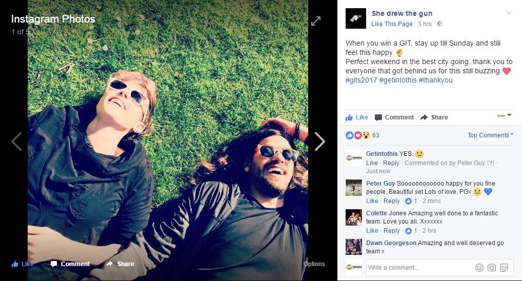 She Drew The Gun post their reaction on Instagram