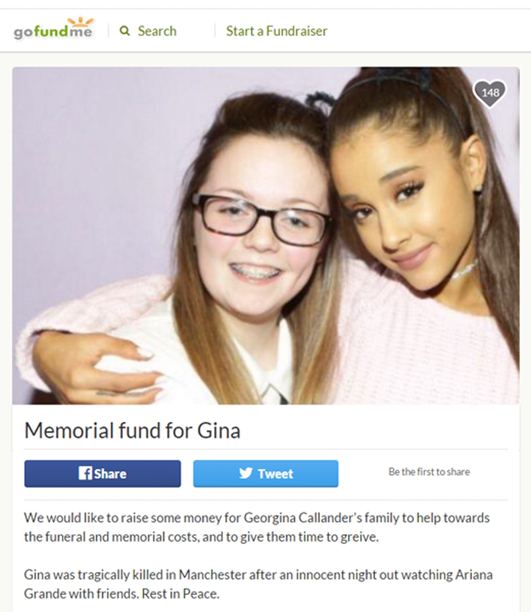 Gofundme page set up in memory of Georgina Callander (left) who has died after the explosion at the Manchester Arena where she had been attending a concert by Ariana Grande (right).