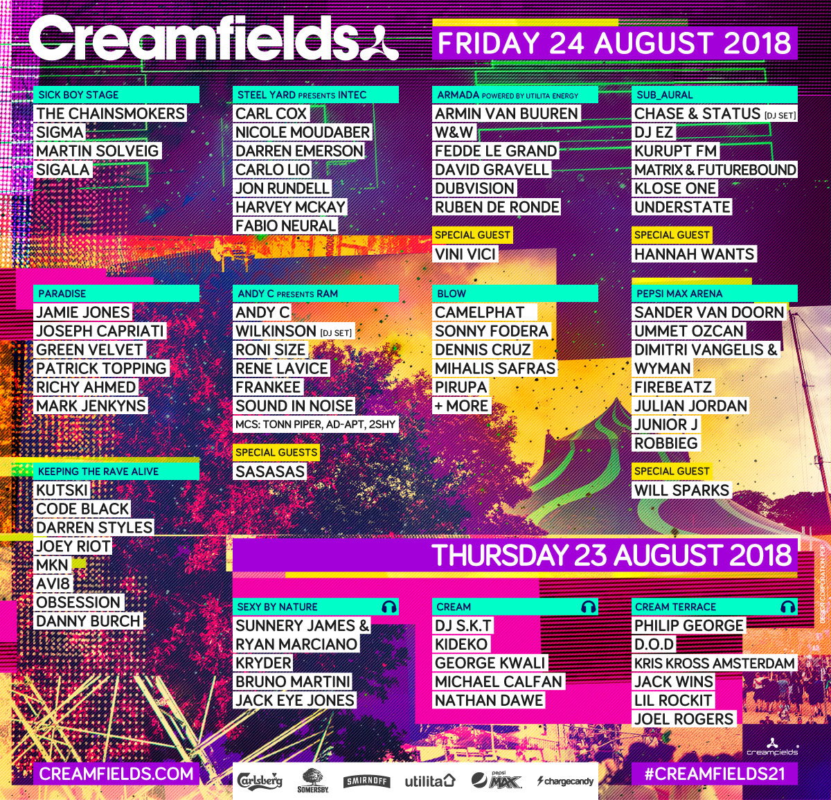 Creamfields Lineup Thurs Fri