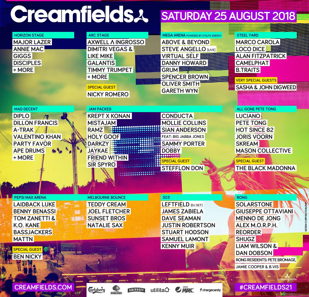 Creamfields Lineup Sat