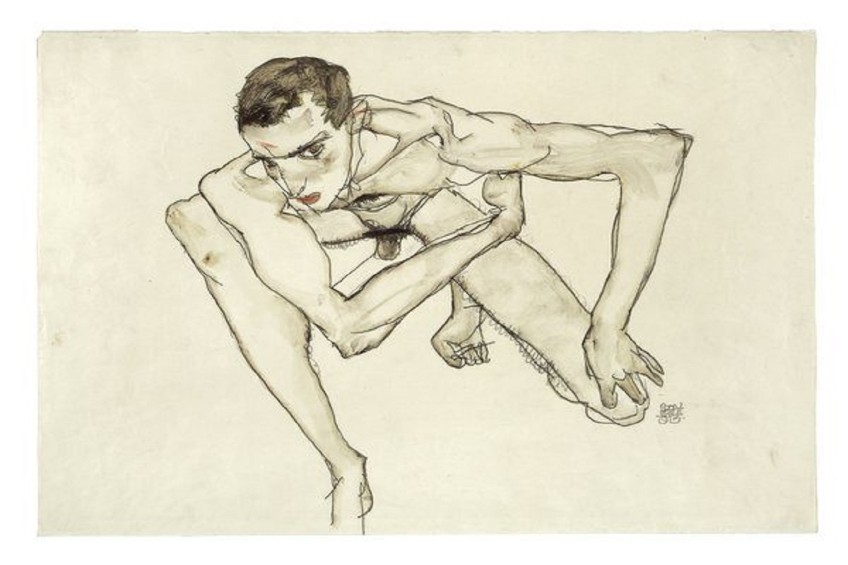 Egon Schiele, Self Portrait in Crouching Position 1913. Photo: Moderna Museet / Stockholm