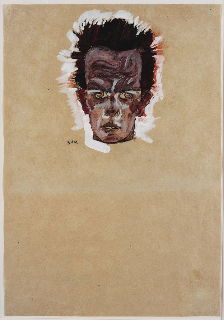Egon Schiele - Self-portrait - Head (1909)
