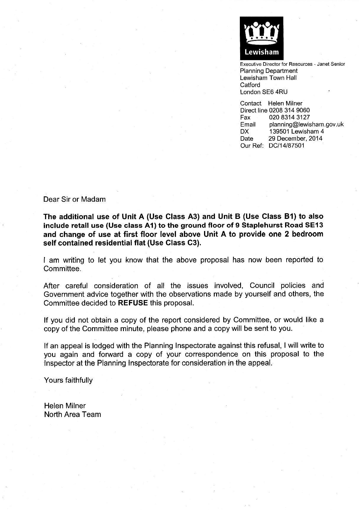Biscuit Factory Dec 2014 Refusal