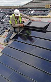 Solar roof tile installation