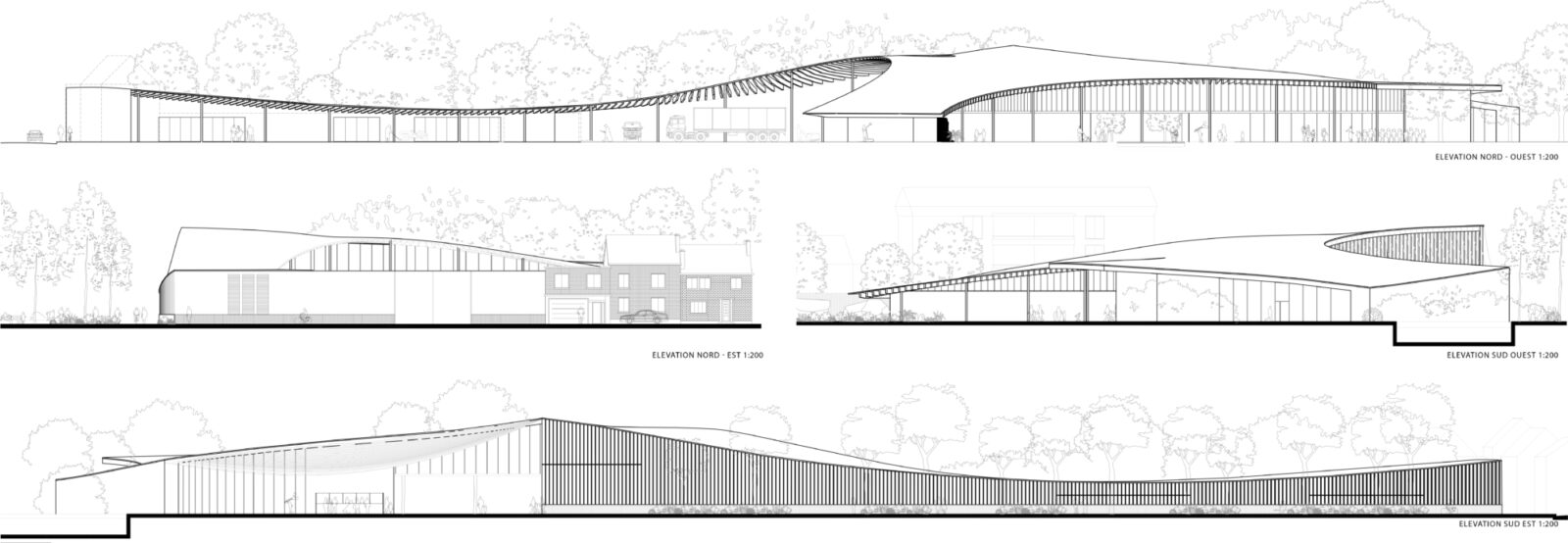 Elevations and Sections of of New Entrance Building