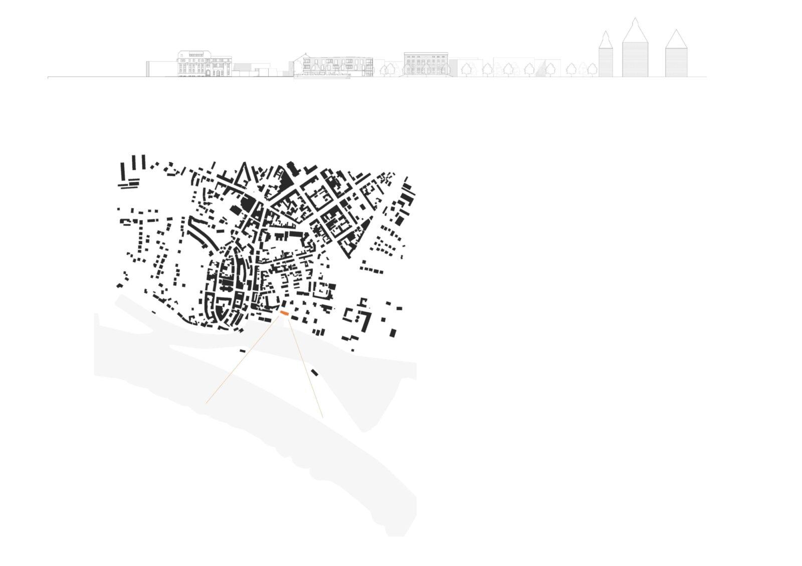 Position in der Stadt mit Blickbeziehung