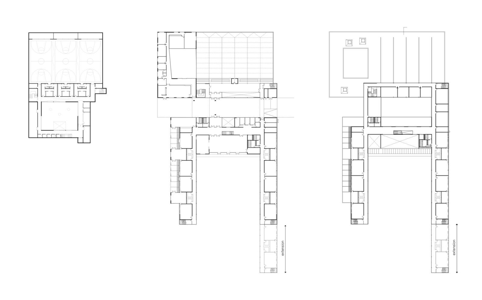 From Left — Lower Level Plan, Ground Floor Plan, Upper Floor Plan