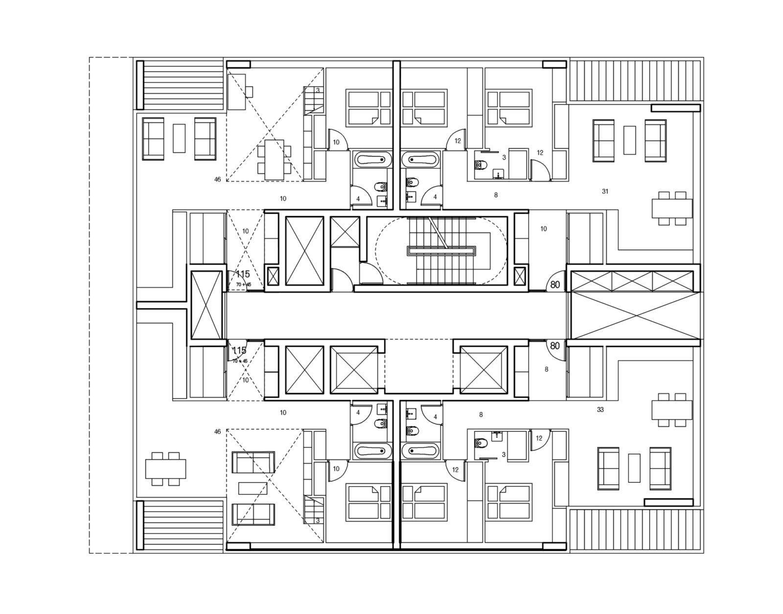 Type E Lower Floor Plan