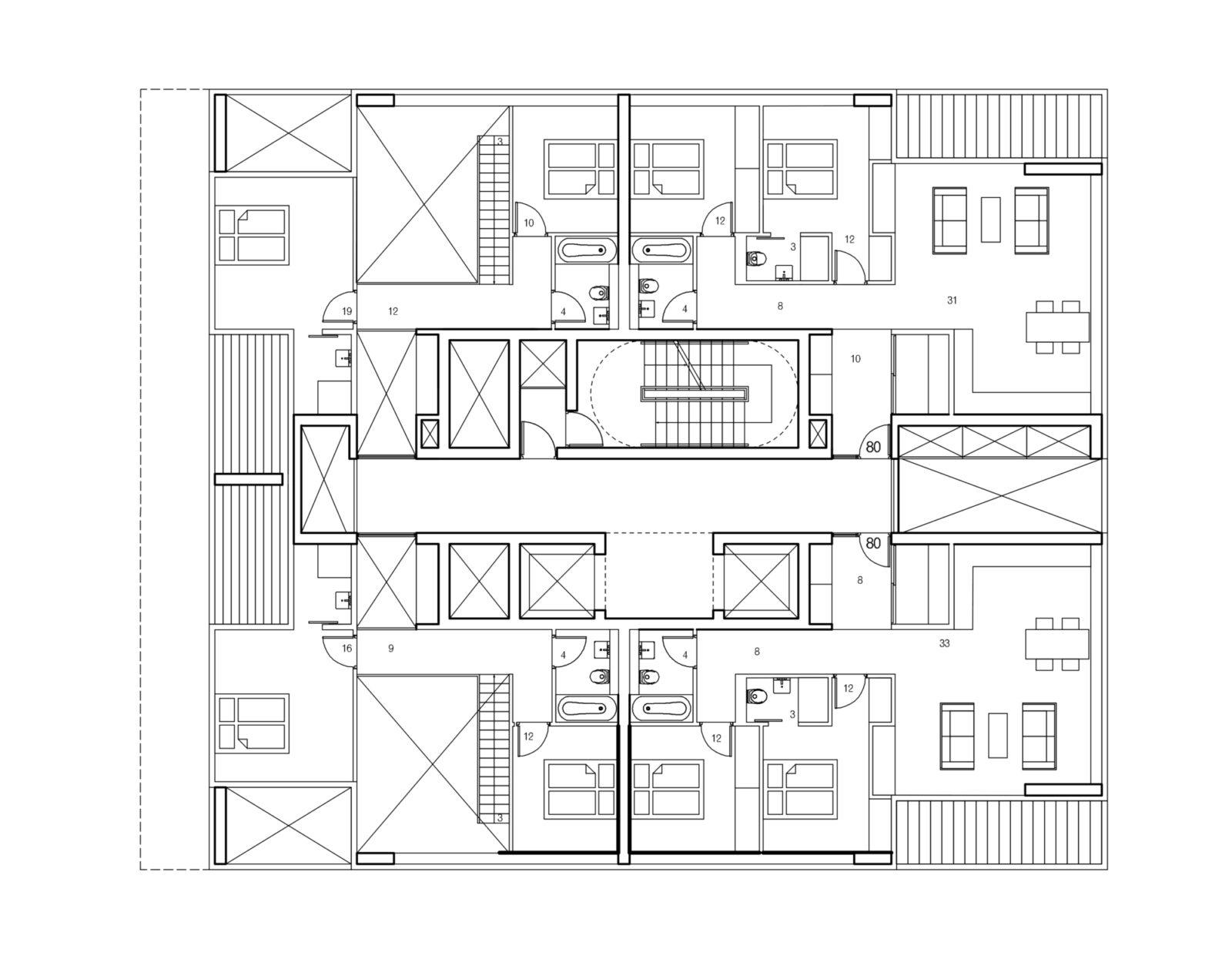 Type E Upper Floor Plan