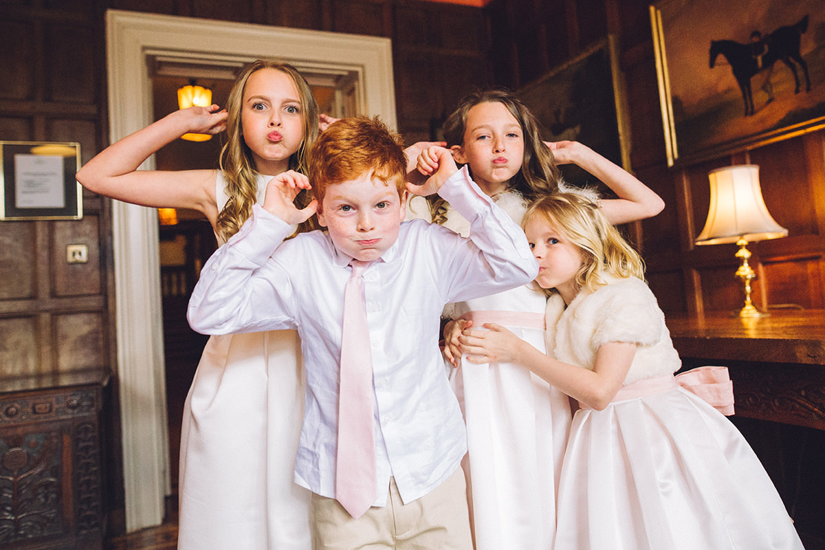 Fun Kids Wedding Portrait Arley Hall Manchester and Cheshire Wedding Photographer