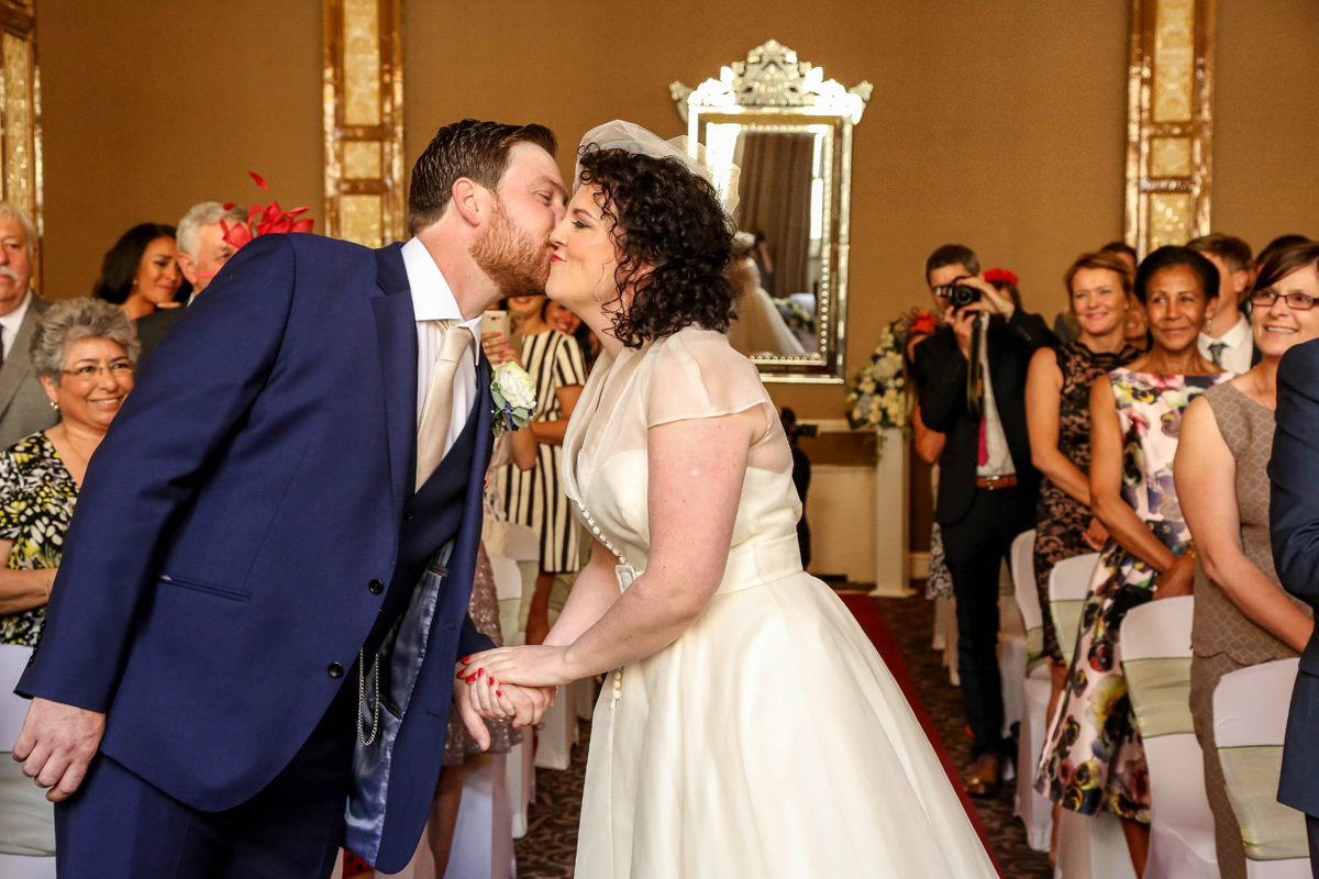 Kiss, Palace Hotel Manchester. Wedding Photographer Manchester and Cheshire.