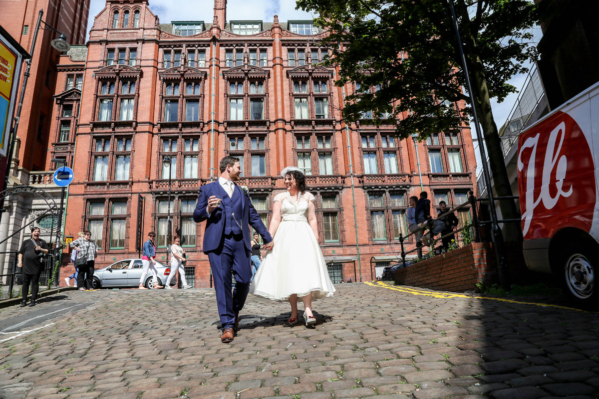 Walking the Cobbles, Wedding Photographer Manchester and Cheshire. Palace Hotel Manchester.