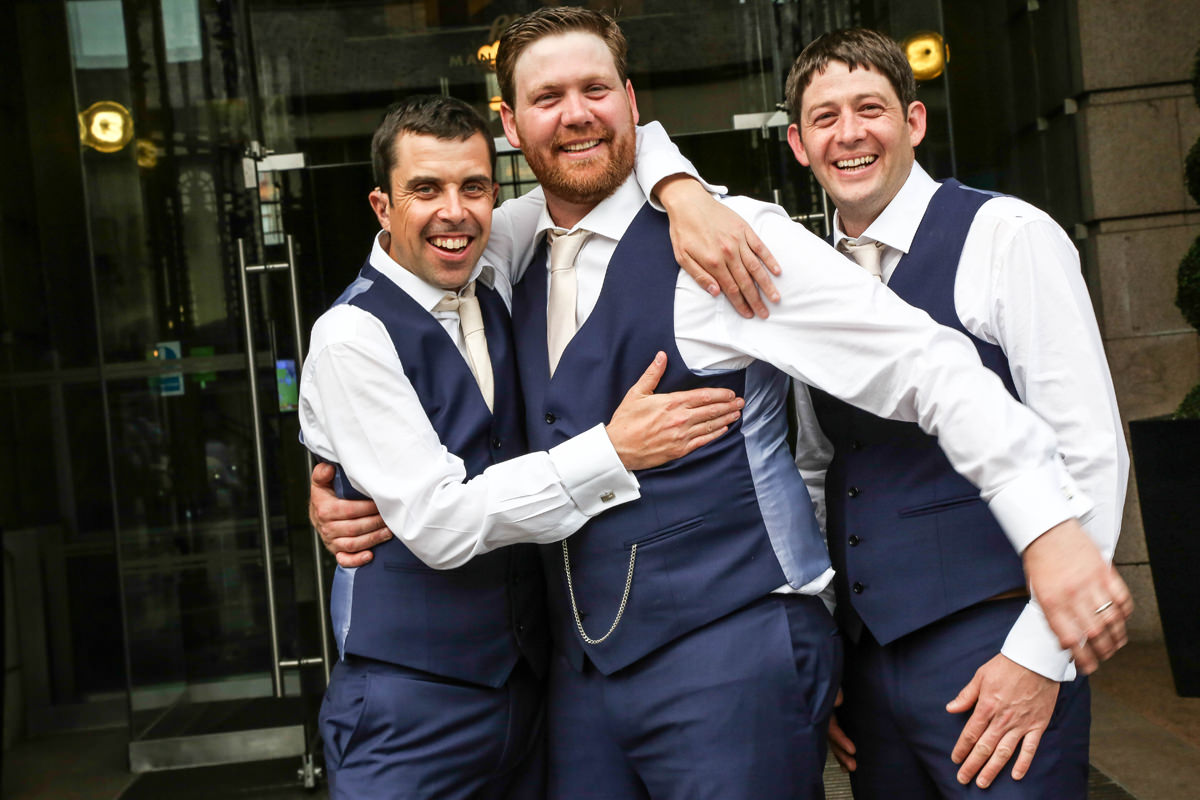 Groom and Groomsmen. The Palace Hotel Manchester. Wedding Photographer Manchester and Cheshire.