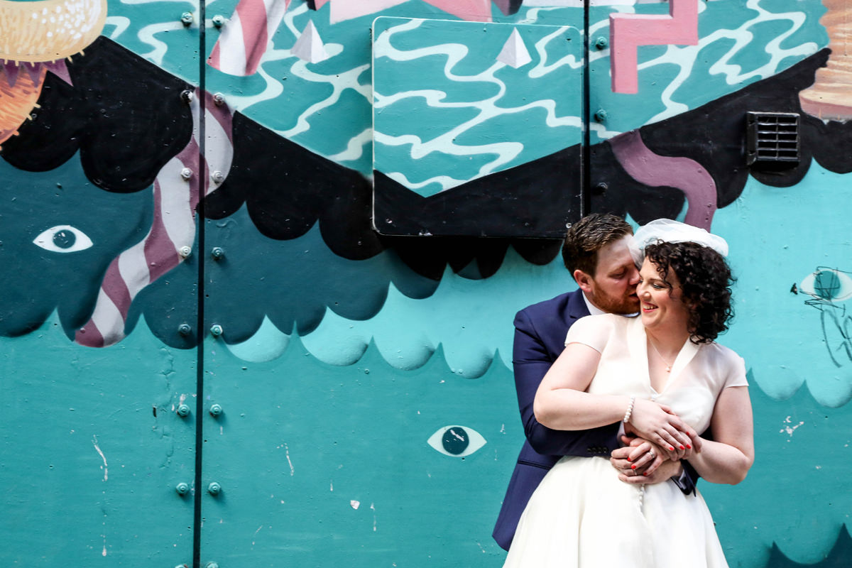 Graffiti love, Urban Wedding Photography. Wedding Photographer Manchester and Cheshire