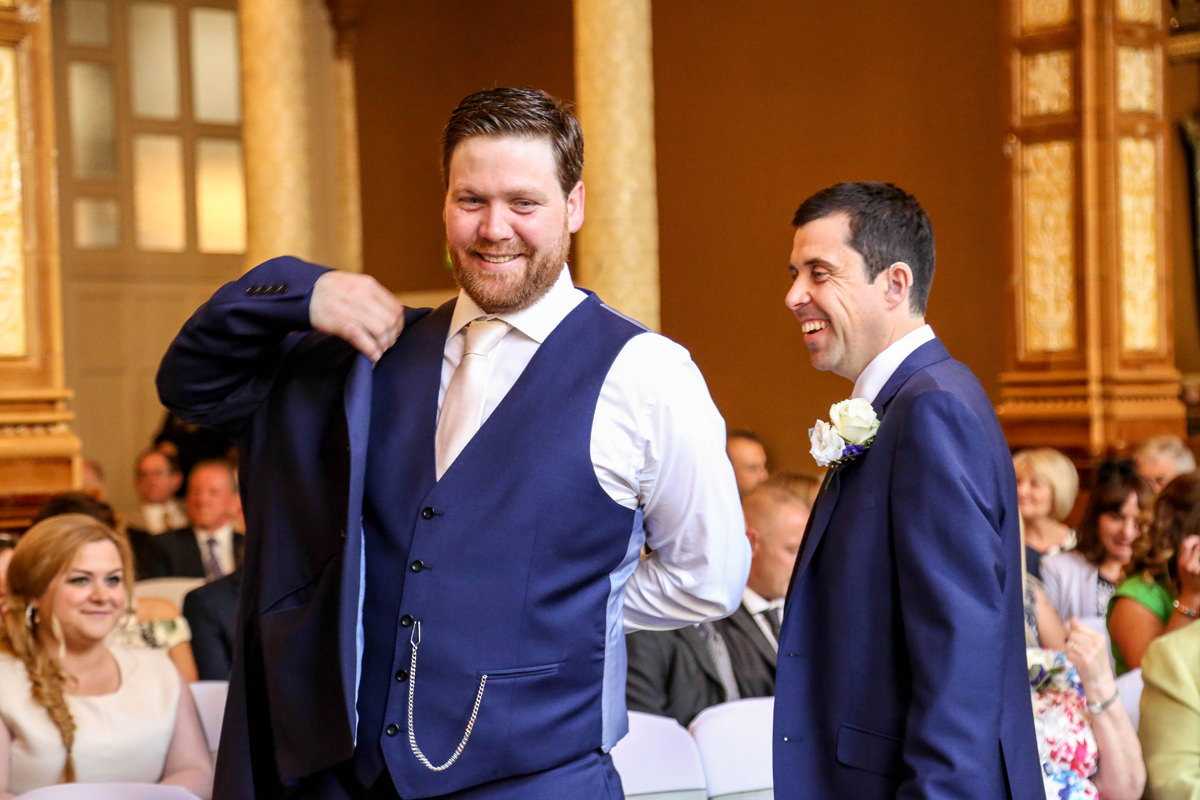 Groom and Best Man at The Palace Hotel Manchester. Wedding Photographer Manchester and Cheshire.