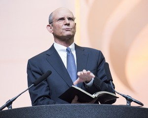 The 60th General Conference Session of the Seventh-day Adventist Church, Alamodome, San Antonio, Texas, USA, July 2-11, 2015. Sabbath School and Church Alamo Dome.  Ted Wilson President of the World Church speaks during the worship service.