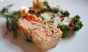 Terrine aux asperges, à la mousse de saumon