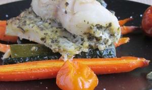 Roulés de sandre au pesto verde et ses légumes rôtis -