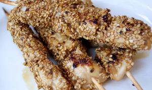 Brochettes de poulet apéritives sucrées-salées