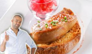Tartine de foie gras poêlé aux oignons confits grenadine de Tony Parker