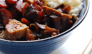 Aubergines, carottes et tempeh laqués